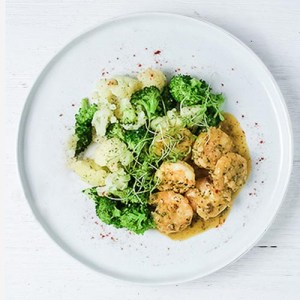 Citrus Shrimp with Steamed Broccoli and Cauliflower