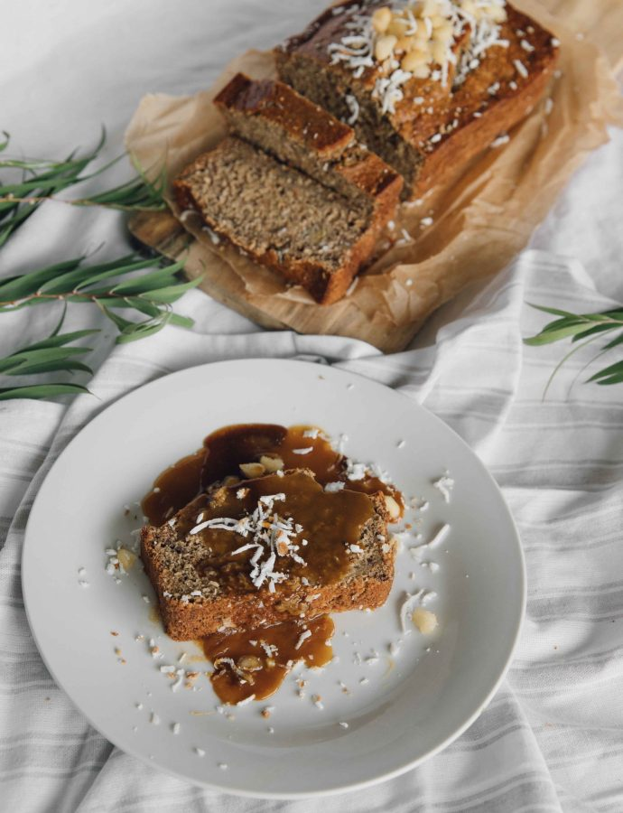 Bahamian Banana Bread with Buttered Rum Sauce