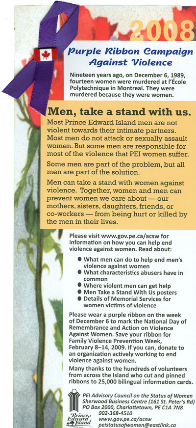 Information card, Purple Ribbon Campaign