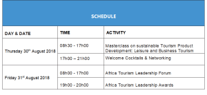 The two day schedule for the Africa tourism leadership forum