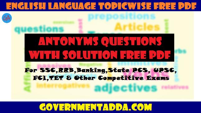 Ssc Antonyms Pdf