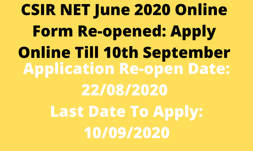 CSIR NET Recruitment 2020