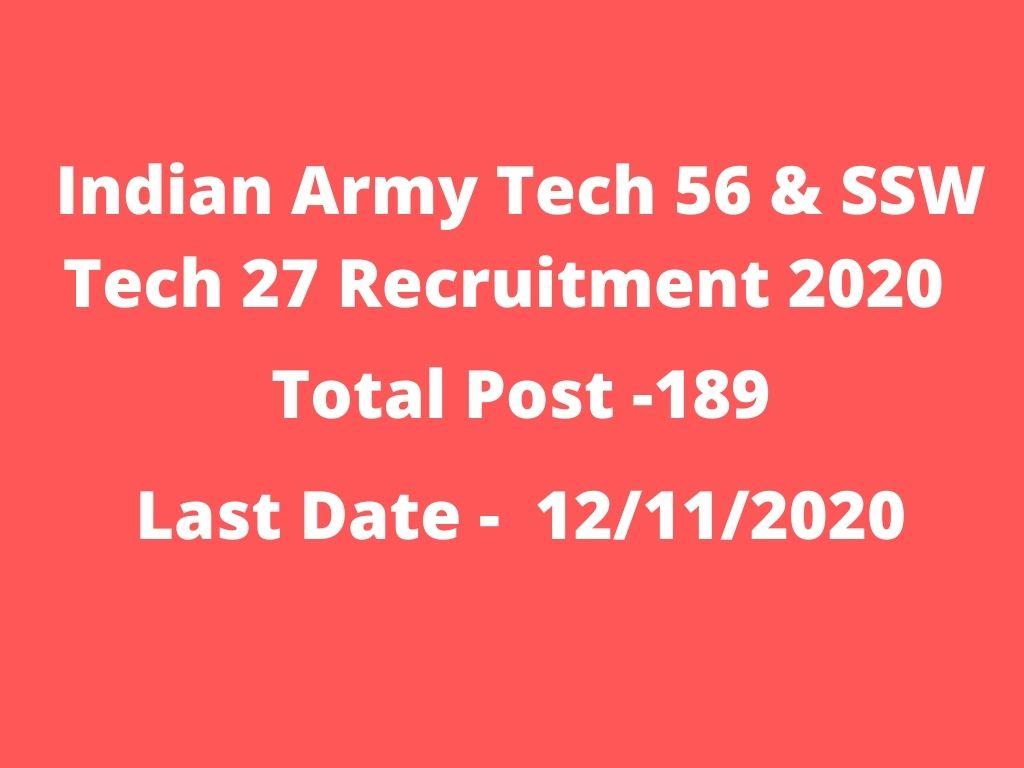 Indian Army Tech 56 & SSW Tech 27 Recruitment 2020