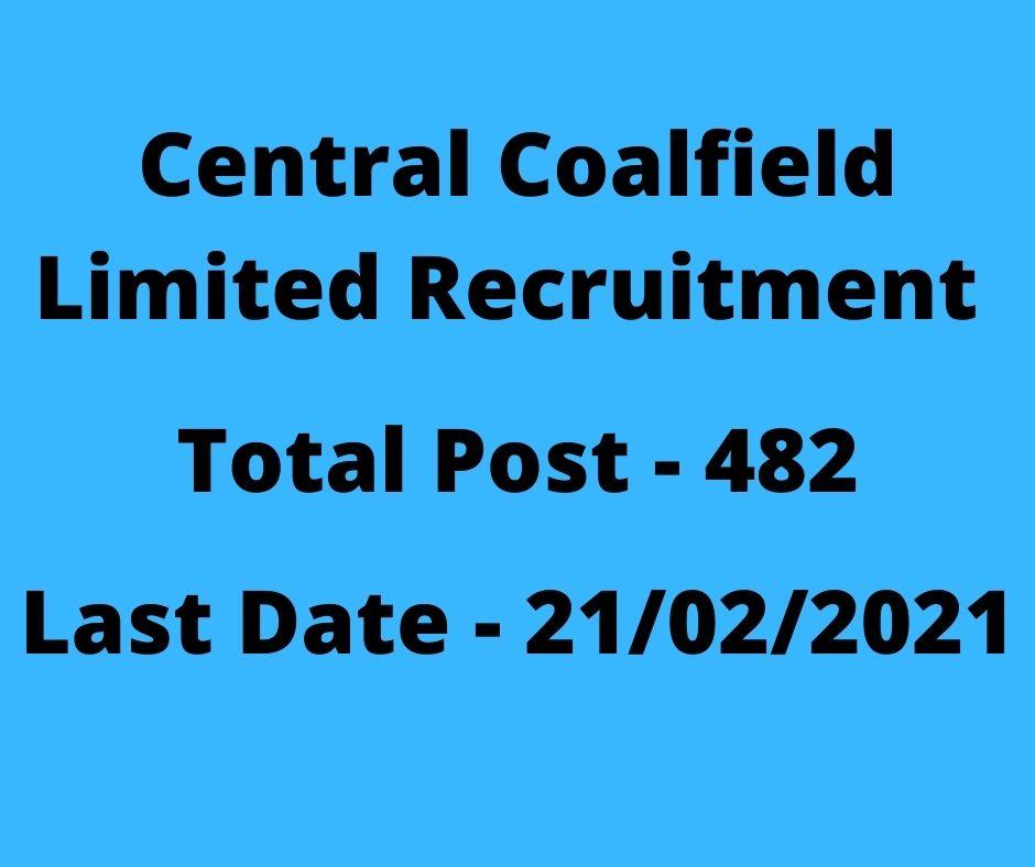 Central Coalfield Limited Recruitment 2021