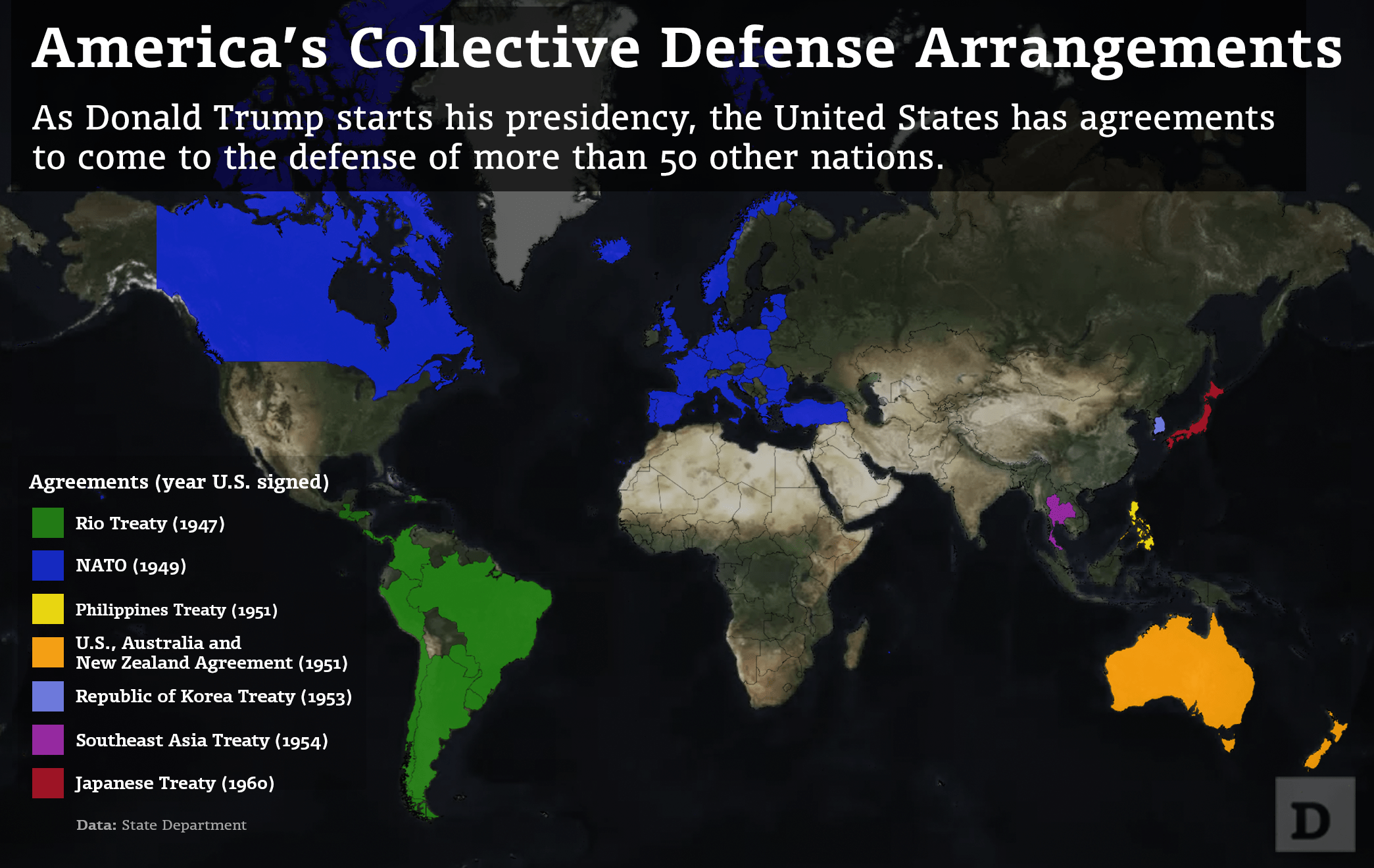 Mapped America S Collective Defense Agreements