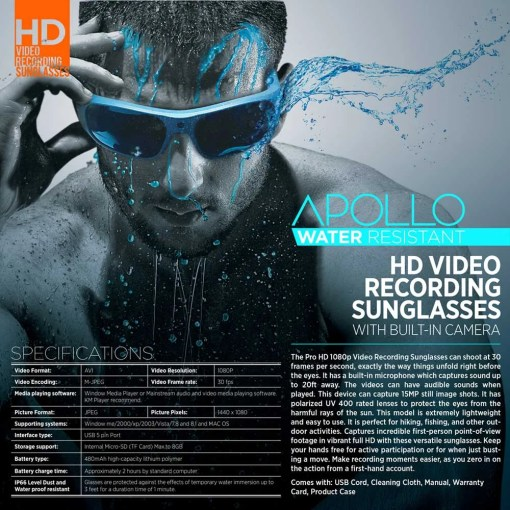 Water Resistant Camera Sunglasses 3