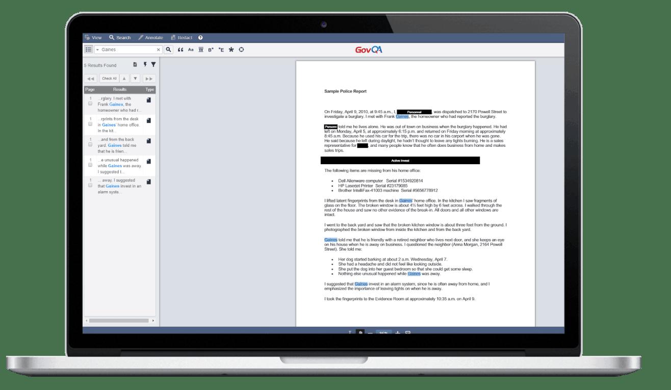 GovQA public records software document redaction tool on macbook pro