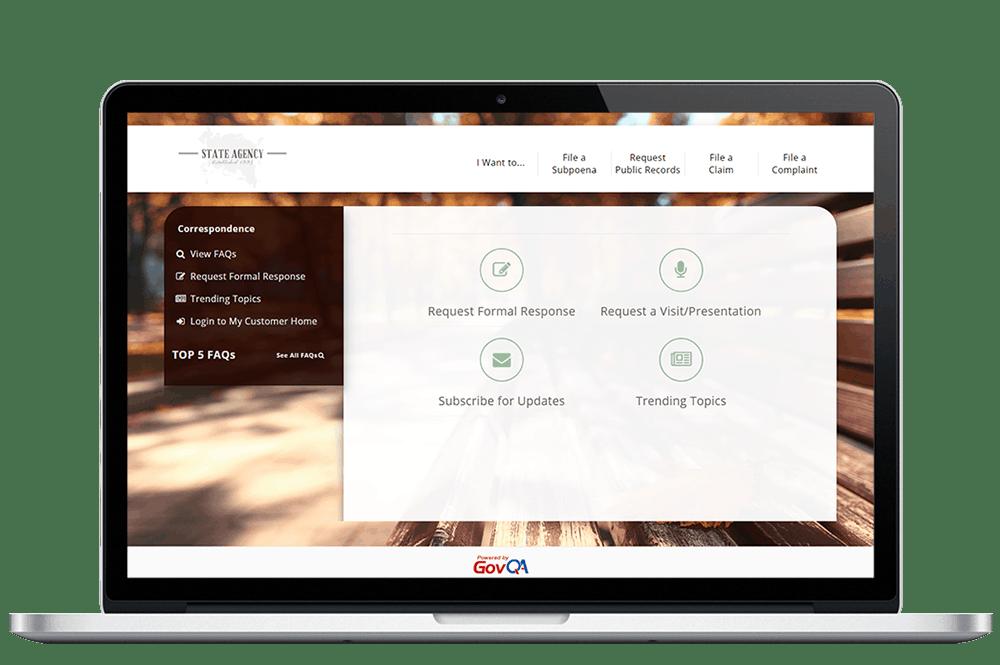 govqa correspondence management solution comprehensive web portal on macbook pro