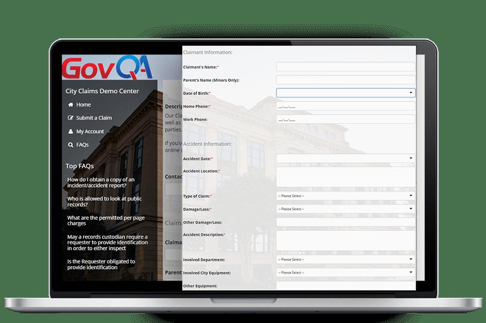 govqa claims management software comprehensive web portal on macbook pro