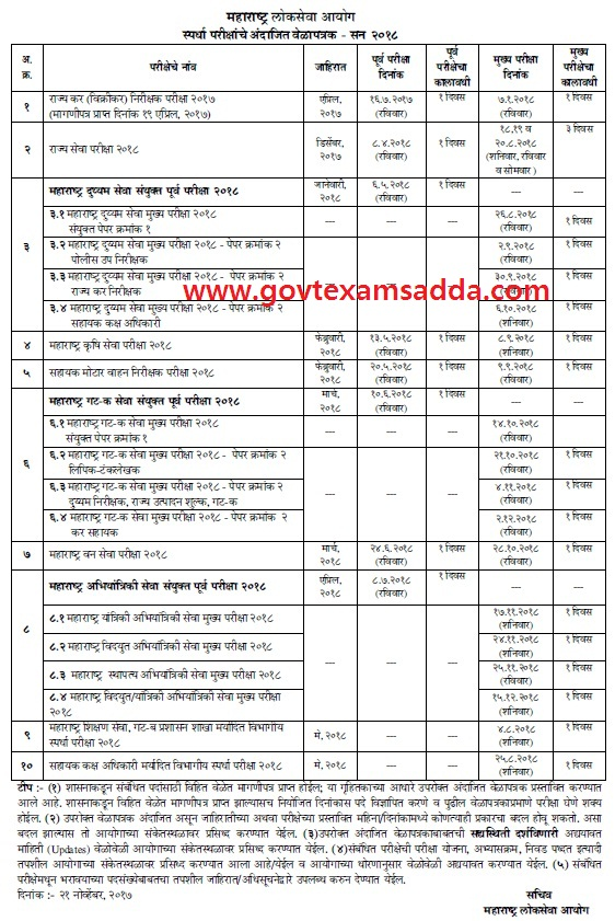 mpsc-exam-time-table-2018 Online Govt Job Form Apply on