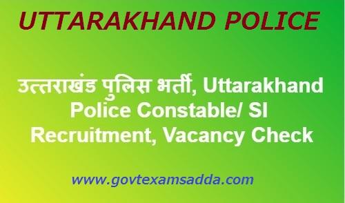 Uttarakhand Police Recruitment 2018