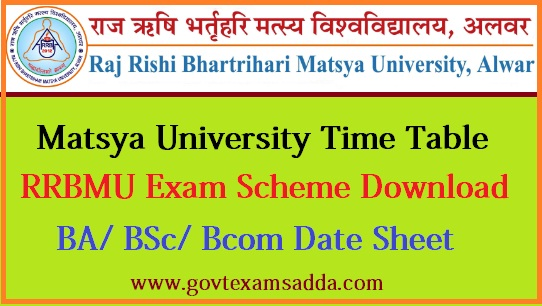 Matsya University Time Table 2020