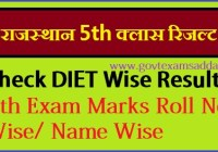 Rajasthan DIET 5th Class Board Result 2021