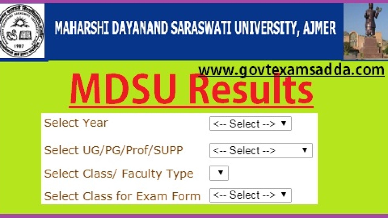 MDSU Ajmer Result 2019, BA BSC Bcom Part 1/2/3 Results Roll No Wise