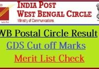 West Bengal Postal Circle Result 2020