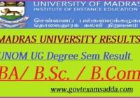 Madras University Result 2019-20