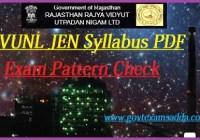 Rajasthan RVUNL JEN Syllabus 2019-20