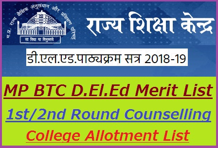 MP BTC D.El.Ed Merit List 2019