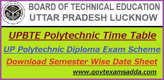 BTEUP Polytechnic Time Table 2018-19