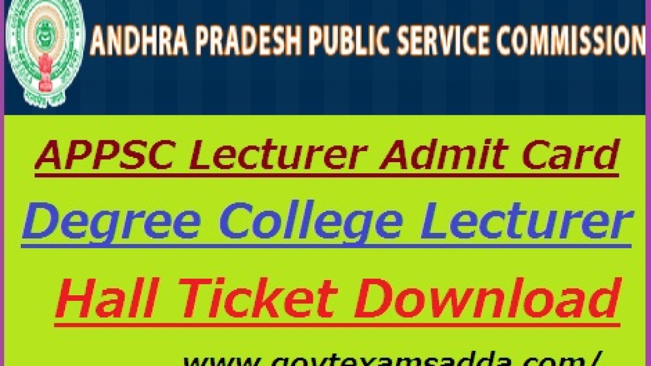 APPSC Lecturer Hall Ticket 2019 Degree College Lecturer Admit Card
