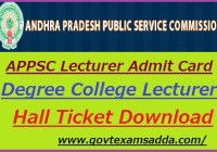APPSC Lecturer Hall Ticket 2019