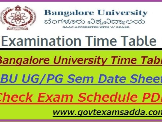Bangalore University Time Table 2019-20 UG PG odd Sem Date