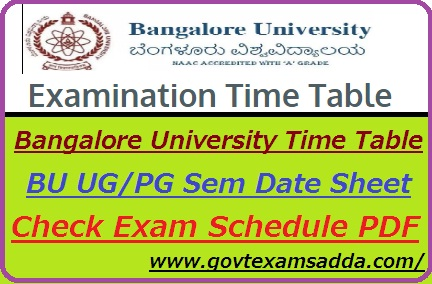 Bangalore University Time Table 2019