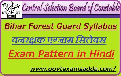 Bihar Police Forest Guard Syllabus 2021