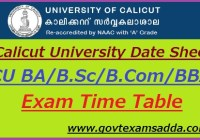 Calicut University Date Sheet 2019