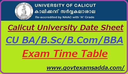 Calicut University Date Sheet 2019