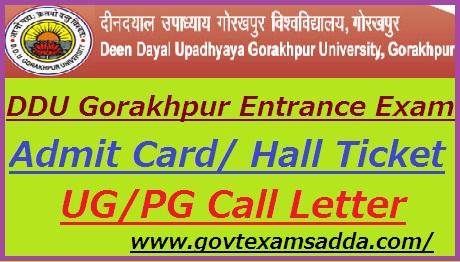DDU Gorakhpur University Entrance Exam Admit Card 2019