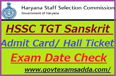 HSSC TGT Sanskrit Admit Card 2019-20