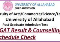 Allahabad University Entrance Exam PGAT Result 2019