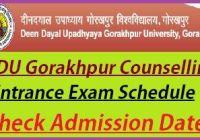 DDU Gorakhpur University Entrance Exam Counselling 2021