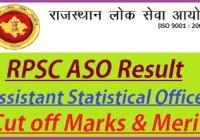 RPSC Assistant Statistical Officer Result 2019