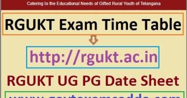 RGUKT Exam Date Sheet 2021