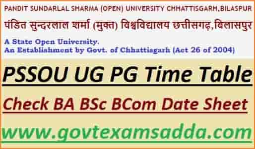 PSSOU BA BSc BCom Exam Time Table 2021