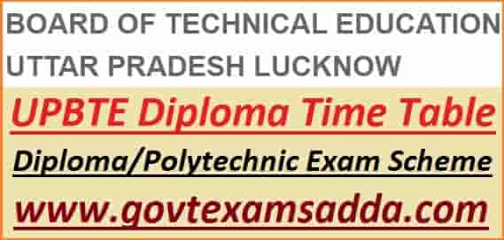 UPBTE Diploma Polytechnic Time Table 2021