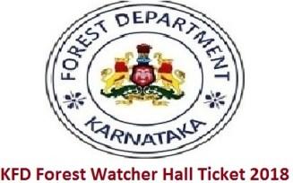 KFD Forest Watcher Hall Ticket 2018