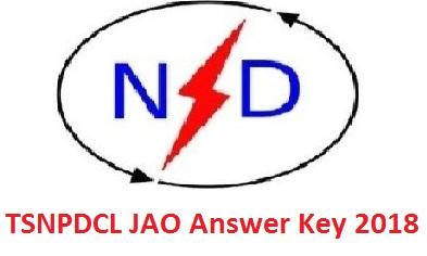 TSNPDCL JAO Answer Key 2018