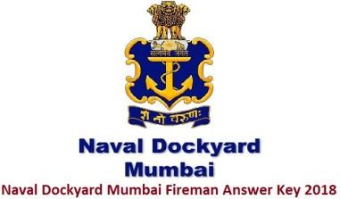 Naval Dockyard Mumbai Fireman Answer Key 2018