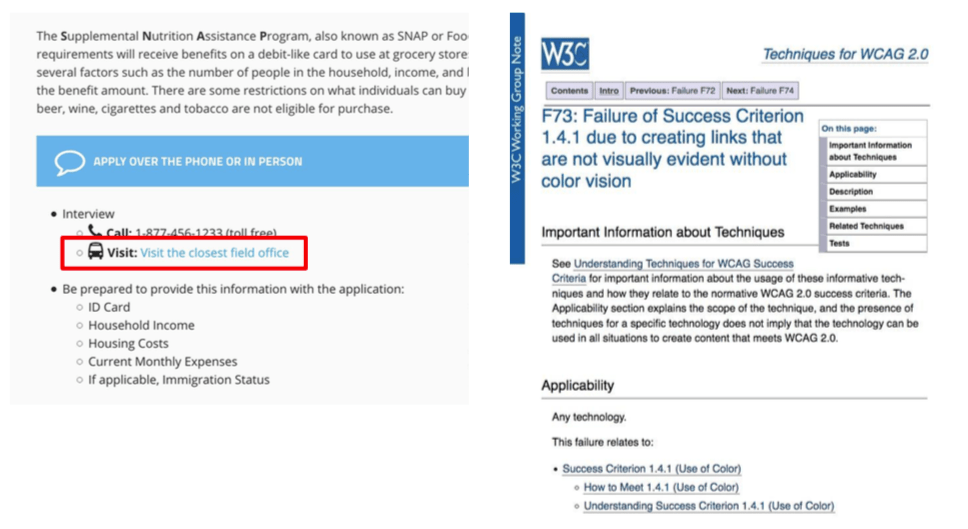 F73: Failure of Success Criterion1.4.1 Links that are not visually evident without color vision.
