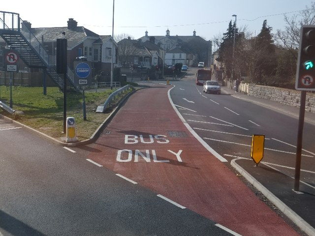 three lane road with bus lane