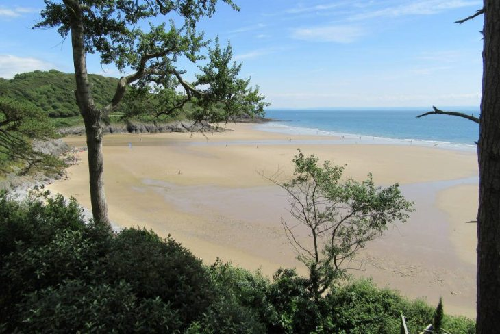 Caswell Bay in the Gower Peninsula, Swansea, South Wales