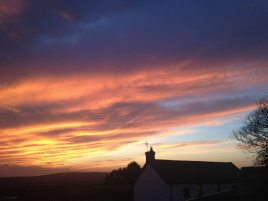 Sunset at Hills Court bed and breakfast, Reynoldston, Gower