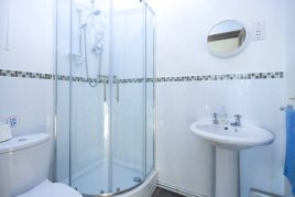 The en-suite shower room at The Tractor House holiday cottage, Llethryd, Gower Peninsula