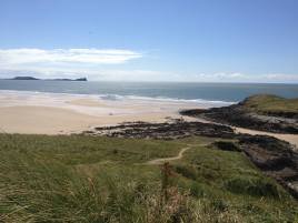 The Worm's Head Rhossili and Llangennith Beach close to Delvid Stables, Llangennith, Gower