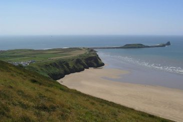Rhossili village and Worms Head, Gower Peninsula