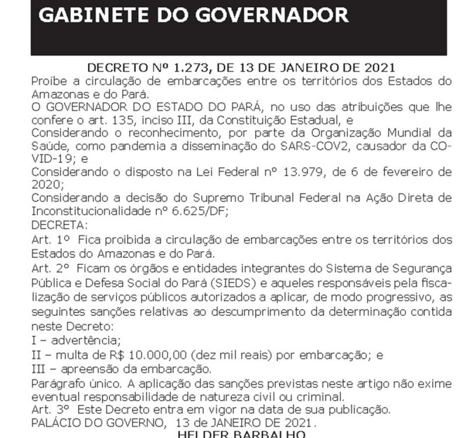 Decreto do governador do Pará