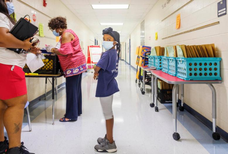 Students at Heritage Elementary School in Macon recently picked up laptops for the start of virtual school for fall 2020.